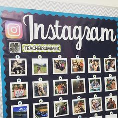 Instagram bulletin board! Switch out the pictures to go with the hash tag. So fun!