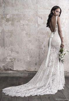 a9f28911 Brudekjoler · madison james fall 2018 bridal sleeveless with strap v neck  full embellishment elegant fit and flare