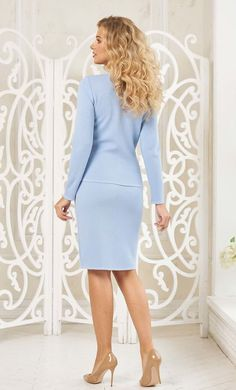 Sky blue suit for women by Olesya Masyutina. Skirt set suit consists of jacket with beautiful border in the style of сhanel, pencil skirt, baby blue female suit. 800 models of knitted and fabric women clothes in casual style, evening and wedding.
