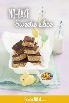 With chocolate, coconut, lollies and crushed biscuits, this no-bake slice is a true sweet treat. It takes only 15 minutes to prep, and the rest of the work is done by your fridge. It's an easy slice recipe that the kids will love! It makes 20 slices.