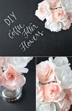 DIY wedding centerpiece idea!  Coffee filter flowers.