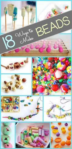 Crafts for Kids: 18 Ways to Make Homemade Beads- including straw beads, clay beads, fabric beads, and more! DIY beads children can use to make their own jewelry!