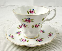 Royal Albert Tea Cup and Saucer, Lyric Shape, White with Flowers, Vintage Bone China