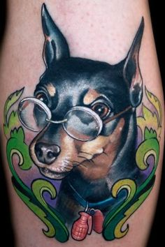 Awesome spectacled dog tattoo