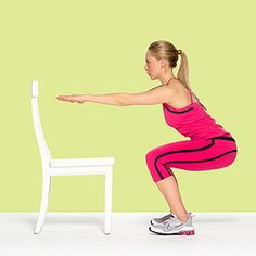 Stand with feet shoulder-width apart, arms by sides.  Squat slowly (count to 4 on the way down) until both knees are bent 90 degrees and raise straight arms to shoulder level in front of you.    Immediately rise out of squat, lift heels off floor (rising onto tiptoes) and raise arms straight overhead; hold for two seconds.  Return to squat position.  Do 15 reps.