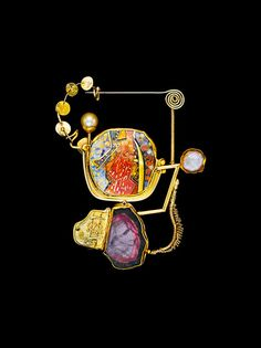 WILLIAM HARPER DUBUOGRAPHY 2016 gold cloisonne' enamel on fine gold and fine silver; tourmaline; pearl