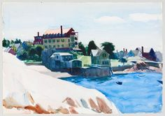 Edward Hopper, (Small Town on Cove), Watercolor and graphite pencil on paper, sheet: 13 × 19 × cm). Hopper/Licensed by Artists Rights Society (ARS), New York Watercolor Landscape, Abstract Landscape, Watercolor Painting, Edward Hopper Paintings, John Singer Sargent, Traditional Landscape, Wassily Kandinsky, American Artists, Small Towns
