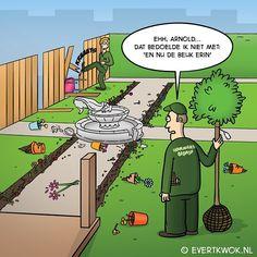Misverstanden bij de hovenier. #cartoon
