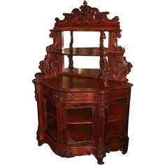 Extraordinary 1860's American Rococo Carved Oak Etegere with Cabinet Base ~ References Suggest either Meeks or Belter