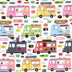 FAT QUARTER  FOOD TRUCKS ROCK QUILTING FABRIC LUNCH TRUCK 100/% COTTON FABRIC  FQ