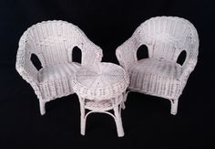 Vintage Large White Wicker Doll Table 2 Chairs Patio Furniture Set Plantstands | eBay