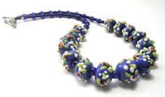 Blue Flower Garland Necklace  Floral Art Beads  by SwankyJewels - 48 euro
