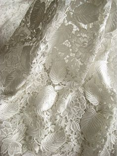Off White lace fbric crocheted lace fabric by WeddingbySophie