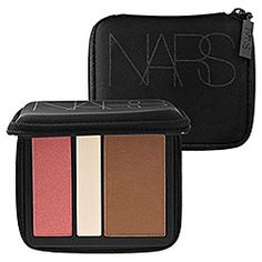 NARS Blush/ Bronzer Trio - This stuff is FANTASTIC!!  What it is: A cheek palette featuring a highlighting blush powder, blush, and bronzer in a chic, zippered compact.   What it does:  This stunning and shimmering Blush Bronzer Trio features iconic Nars shades Laguna, Orgasm, and Albatross for the ultimate in radiance for the face.