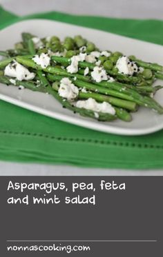 Asparagus, pea, feta and mint salad | Fresh spring flavours combine in this tasty side salad that deserves to be eaten outside in the sunshine.Each serving provides 200kcal, 14g protein, 7.5g carbohydrate (of which 3.5g sugars), 11.5g fat (of which 7g saturates), 5g fibre and 1.3g salt.