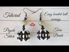 Beaded ball earrings with twin / superduos ~ Seed Bead Tutorials