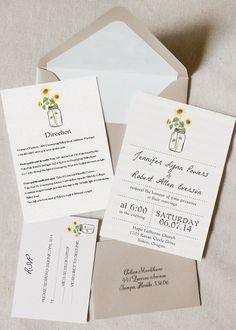 mason jars and sunflower inspired rustic wedding invitations