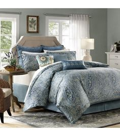 Faded Blue Paisley Comforter Set King or Queen
