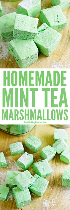These Homemade Mint Tea Marshmallows get their delicious spearmint & peppermint flavor from herbal mint tea bags! A fun green recipe for St. Patrick's Day!