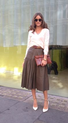 Olivia Palermo London Fashion Week - top and skirt from Reiss, vintage Hermès clutch, Valentino shoes, and belt from Burberry