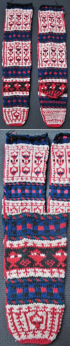 Traditional hand-knitted stockings, for women.   From the Tokat region.  Late 20th century (1980s).  White cotton and wool.  Design: 'armutlu' (with pear).  (Inv.nr. çor021 - Kavak Costume Collection - Antwerpen/Belgium).