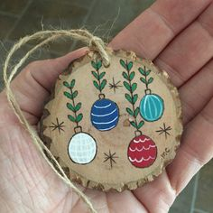 Wooden Christmas ornament personalized wood slice by MalamiStudio