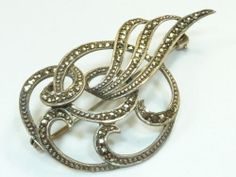Beautiful RARE Vintage 925 Sterling Silver Brooch Marcasite Perfect 7 8g BR248   eBay