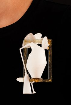 "Rachel Timmins  Brooch: Creature Three 2011  SLS, sterling silver, craft glitter, epoxy resin, stainless steel, acrylic  4 x 3 x 1"""