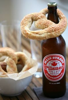 Cute way to serve pretzels and beer