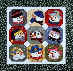 "No coats or hats needed to build these snowmen! Just like playing paper dolls, choose a hat, scarf, collar or bowtie. Pieces are fused on, then blanket stitched by hand or machine. Embellish with buttons, charms or embroidery.  12 different snowmen included, or mix and match to create even more!  For a block exchange: Nine people make nine of the same snowman with a hat, scarf and nose pressed onto 9"" squares. No stitching. Keep one and exchange the other eight. Go home with nine different…"