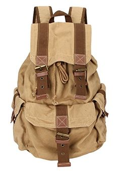 Domiray Mens Vintage High Density Thick Canvas Backpack Rucksack *** This is an Amazon Affiliate link. For more information, visit image link.
