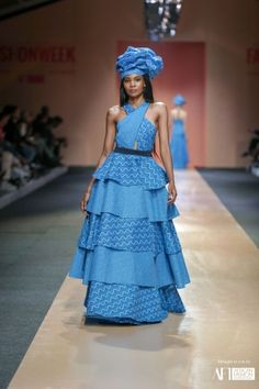 Khosi Nkosi - AFI Joburg Fashion Week 2018 www. - Women's style: Patterns of sustainability South African Traditional Dresses, Traditional Wedding Dresses, Traditional Fashion, Traditional Outfits, Seshweshwe Dresses, Fashion Dresses, African Attire, African Dress, Multi Way Dress