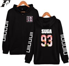 LUCKYFRIDAYF BTS Zipper Hoodie Sweatshirt Bangtan Boys Hot Kpop Mens Hoodies And Sweatshirts Zip Black White XXS 4XL Fashion #Affiliate