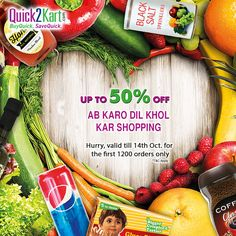 Ab karo dil khol ke shopping! Enjoy up to 50% off on your grocery bill till 14th October for the first 1200 orders only.