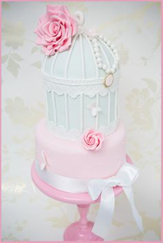 Two tier birdcage wedding cake