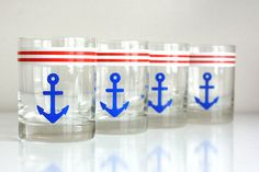 Set of Four Vintage Anchor Glasses by WiseApple, via http://www.etsy.com/people/kidwonder/favorites