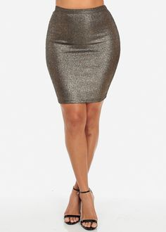 Metallic Ribbed High Waisted Midi Skirt (Gold)