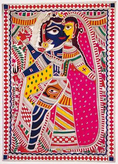 Madhubani Painting (North India) - themes are Mythology and Hindu gods. a double lines for the outlines, spaces filled filled with cross or straight lines. Madhubani or Mithila art see also https://en.m.wikipedia.org/wiki/Madhubani_art