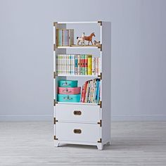 Could go in kid's room - NIlda? Campaign Bookcase (White)  | The Land of Nod