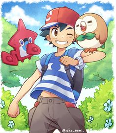 ¡¡Ash,Rowlet and his new pokemon pokedex!!