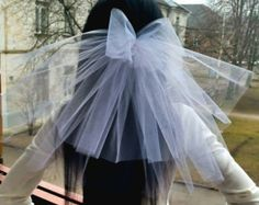 Bachelorette party Veil 2-tier with bow, white, short length. Bride veil, accessory, bachelorette veil, hens party veil, bridal shower, idea