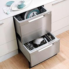 No more dishes in the kitchen sink! Load one while the other washes or just run a quick load of glasses. Two-drawer dishwashers are a favorite in kitchen cleanup. Install in addition to your regular dishwasher for double the dishwashing power.