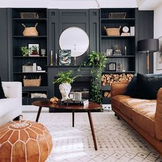 Fascinating Black Living Room Designs Ideas That Never Go Out Of Everyone likes to decorate their house and give a different look to their house. They like to make their house … Living Room Chairs, Home Living Room, Living Room Designs, Living Spaces, Tan Sofa Living Room Ideas, Dark Grey Walls Living Room, Dining Room, Living Room Theaters, Muebles Living
