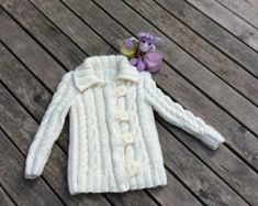 Hand Knitted Girl's Buttoned Cardigan, Jacket Cardigan, Girl Clothes, New Born Baby Gift for Baby Showers, Cable Knit coat for winter