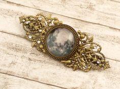 Haarspange mit Mond Motiv in grau bronze Kristall von Schmucktruhe