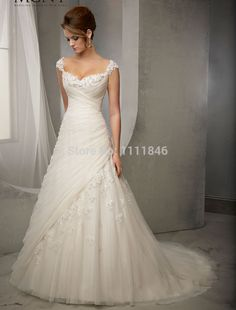Elegant Princess Capped Sleeves Wedding Dresses 2015 Sweetheart A line Appliques Bridal Gowns Small Train-in Wedding Dresses from Weddings & Events on Aliexpress.com | Alibaba Group