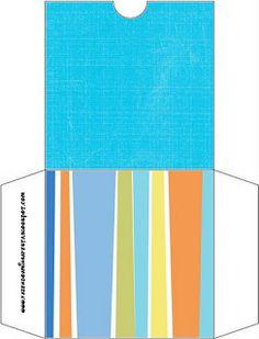 Azul e Listras Coloridas – Kit Completo com molduras para convites, rótulos para guloseimas, lembrancinhas e imagens! |Fazendo a Nossa Festa
