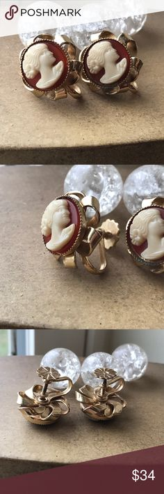 Vintage cameo screw back earrings floral loop base Excellent condition cameo earrings. Deep orange base. Great detail, pre owned but super condition. Vintage Jewelry Earrings