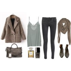 """Blue and taupe"" by trenchcoatandcoffee on Polyvore"