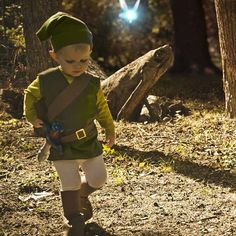 Link costume for toddler. THIS IS ADORABLE_ kaiden will be this next year!!! (i think it would work better for a walking kid.. lol)